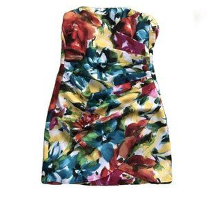 Colorblock Strapless Ruched mini dress sz 1